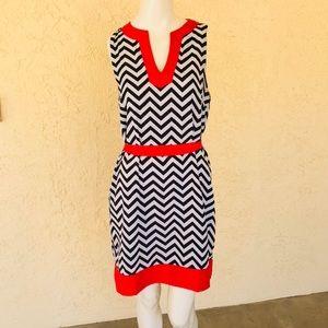 Mud pie Red Black White Chevron print dress M